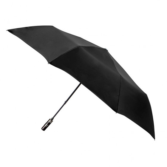 Parapluie Homme Uni Noir pliant mini automatique 8 baleines poignée bois droite